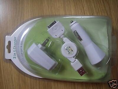 10 USB Data Cable Car/Wall Charger For iPhone iPod Nano