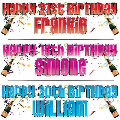 """2 PERSONALISED BIRTHDAY BANNER 3ft - 36""""x11"""" 18th 21st 30th 40th CELEBRATION"""