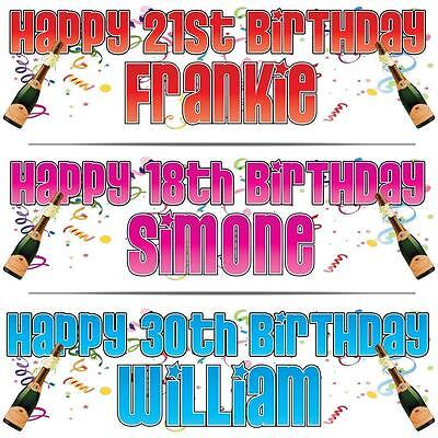 """2 PERSONALISED BIRTHDAY BANNER x 2 18th 21st 30th 40th CELEBRATION 36"""" x 11"""""""