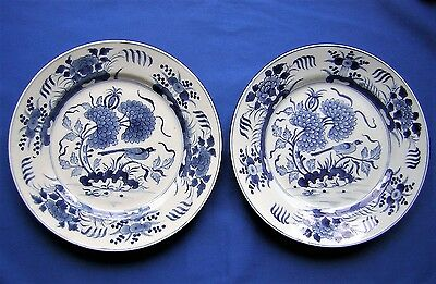 ANTIQUE PAIR CHINESE - BIRD DECORATED - LARGE PORCELAIN PLATES - 18th. Century.