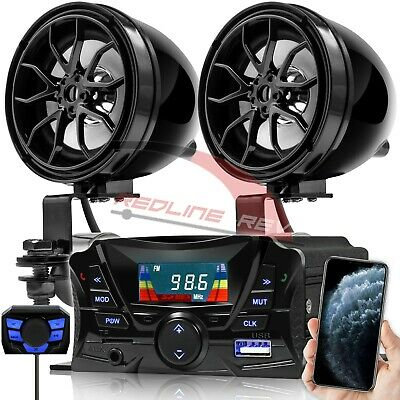 Bluetooth Motorcycle Audio Stereo Music Speakers System MP3 AUX FM Radio USB SD