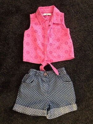 Next / M&S Baby Girls Top & Denim Shorts Age 18-24 Months Vgc