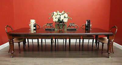 Antique English Mahogany 3 Leaf Extension Kitchen Dining Table Winder and Crank