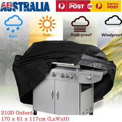 Waterproof Outdoor 6 Burner BBQ Barbeque Grill Cover Durable UV Protector Black