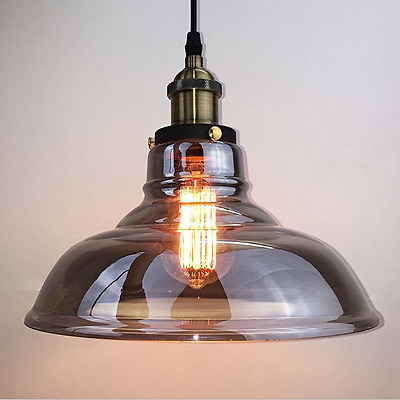 Vintage Grey Glass Pendant Lights Industrial Antique Ceiling Lamp Hanging Retro