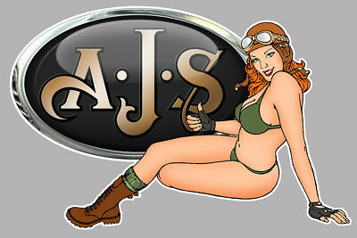 AJS left Pin Up gauche Sticker