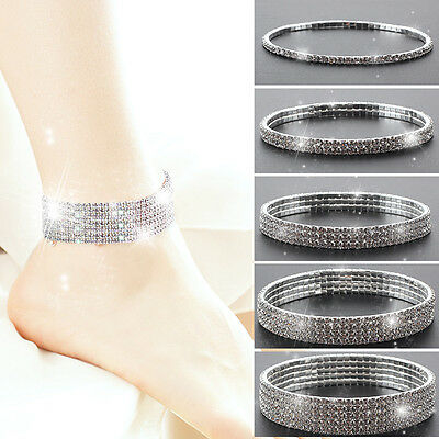 Stretchy 1,2,3,4,5 Rows Anklet Ankle chain -Diamante Rhinestones Silver UK