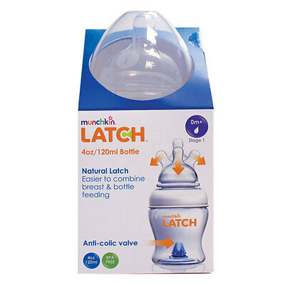 BRAND NEW GENUINE MUNCHKIN LATCH BOTTLE - ANTI COLIC  - 4oz 120ml