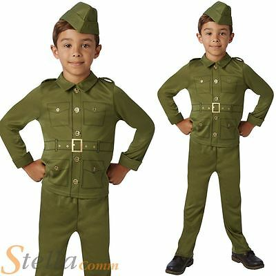 Boys World War Soldier Costume 30s 40s WW2 Military Fancy Dress Child Outfit