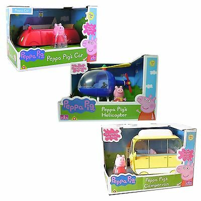 Peppa Pig Small Car Small Helicopter OR Campervan Inc Figure Fun Toy NEW BOXED