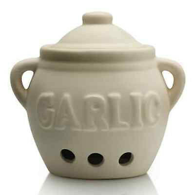 Garlic Ceramic Jar with Lid Kitchen Storage Canister Pot Keeper off White