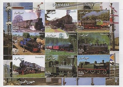 Classic Steam Trains Railyway Travel Somalia 2002 Mnh Stamp Sheetlet