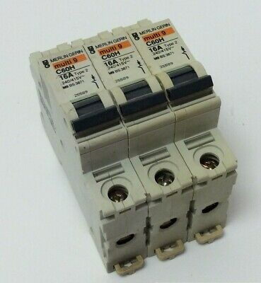 Schneider 16 Amp Mcb Job Lot Of 3 To Clear 16 Amp Type 2 (B) C60Hb116 (Mg71)