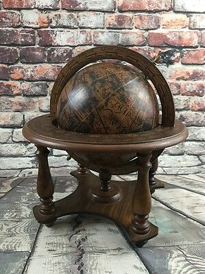 "Vintage 1970's MADE IN ITALY ZODIAC 6"" Diameter World Globe on Wood Stand Base"