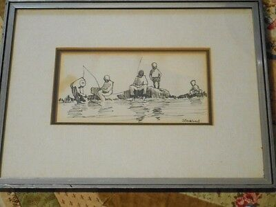 Anthony Strikland Line Drawing of people Fishing! Framed.