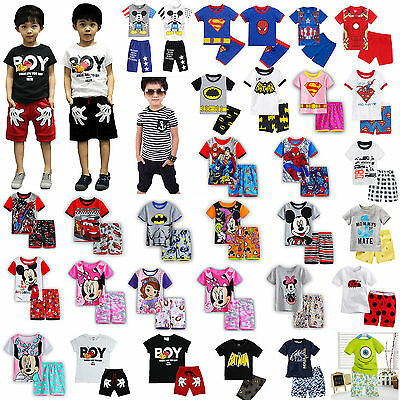 Kids Toddler Boys Girl Cartoon Character Shortie Pyjamas Nightwear Sleepwear Pjs