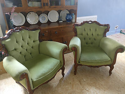 French style vintage arm chairs, Green Rococo Ornately Carved Pair X2