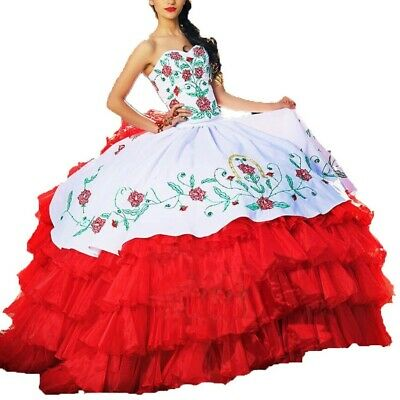 Red&white Ball Gown Quinceanera Dresses Long Prom dresses Embroidery Bridal Gown