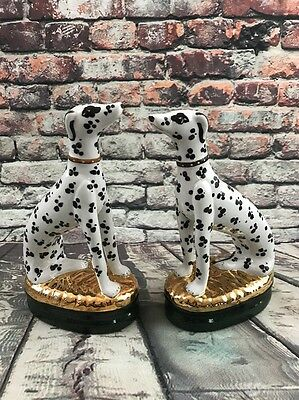 "Beautiful Pair Of 8"" Porcelain Dalmatians Dogs Seated Figurines w/ Free Shipping"