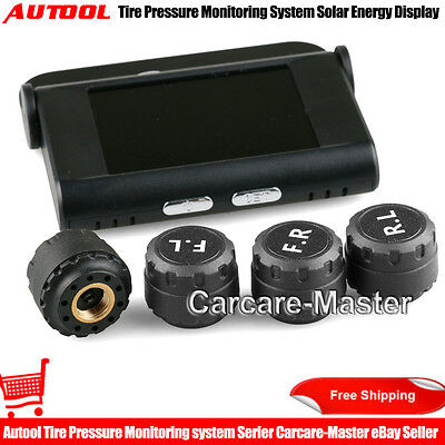 Auto TPMS Tire Pressure Monitoring System Solar Energy Display+4 External Sensor