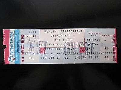 QUEEN  :  1977 News Of The World USA Tour Guest Concert Ticket Stub (Ex-Roadie)