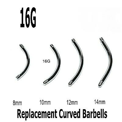 10 Spare Curved Threaded Barbell Blanks Surgical Steel Eyebrow Belly Bars 16g