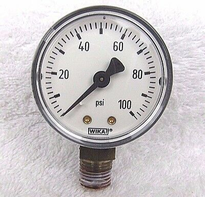 "WIKA Commercial Pressure Guage, Dry-Filled, 2"" Dial 0-100 PSI 1/4 Inch NPT  New"