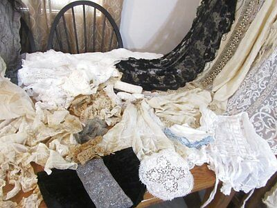exLARGE Estate Antique Vintage LACE LOT fancy work 100 + pcs  Tambour Net Needle