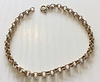 Lovely Ladies Hallmarked Vintage 9ct Gold Fancy Circular Link Bracelet Nice