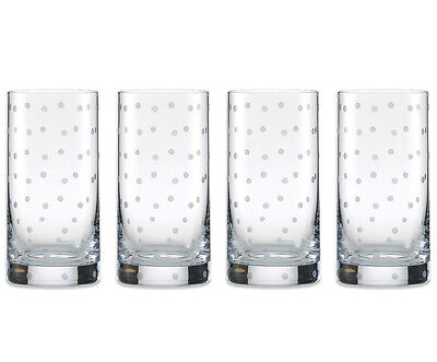 Kate Spade LARABEE DOT Highball Glasses SET/4 Crystal 17 oz Polka Dots New
