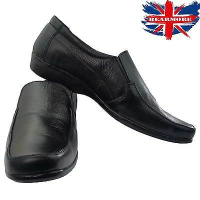Mens Shoes NEW Black Smart Slip-on Leather All Size Formal Wedding Suit Comfort