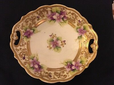 Hand Painted Nippon Noritake Flowered Bowl Dish With Gold Beaded Trim