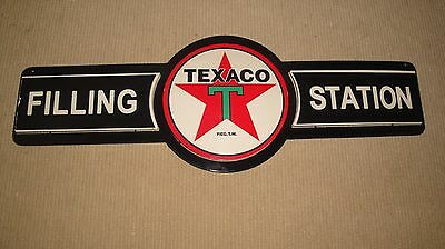 "Texaco Filling Station Double Layered Metal Sign Approximately 30"" x 11"""