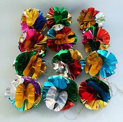 Lot of 12 vintage Foil Christmas Tree Baubles / Decorations ~ please have a look