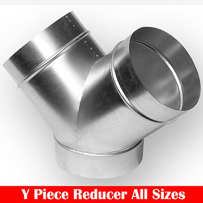 New Metal Y Piece/Section Ventilation Ducting Connector/Reducer 4/5/6/8/10/12