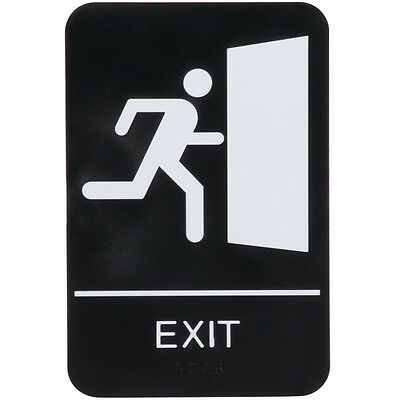 """ADA Exit Sign with Braille - Black and White, 9"""" x 6""""  -   FAST Shipping !"""