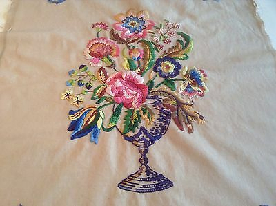A Vintage Stunningly Raised Hand Embroidered Picture Panel Of Vase Of Flowers.