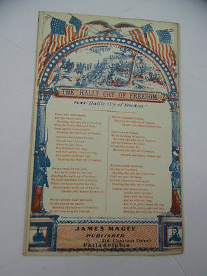 c.1862 James Magee Civil War Patriotic Songster Song Sheet RALLY CRY OF FREEDOM