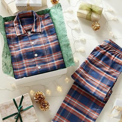 NWT Pottery Barn Teen Fireside Flannel Pajama Set Pajamas Size Large Orange/Navy
