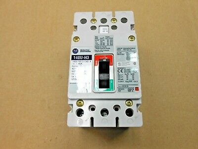 New Allen Bradley 140Uh3 140Uh3C3C40 Circuit Breaker C-40A 3P 480V (5 Available)