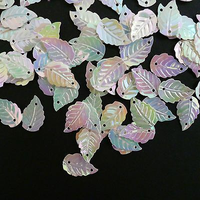 100 x 14mm Small Pretty Sequin Leaves.  Gold/Silver/White Iris/Clear Irisdescent