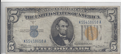 1934 A $5 Silver Certificate Yellow Seal North Africa