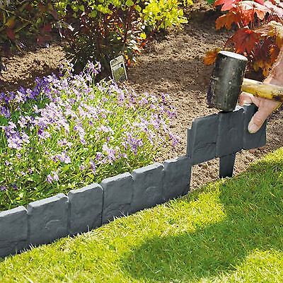10 Cobbled Stone Effect Plastic Garden Lawn Edging Plant Border Hammer In Grey
