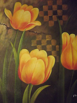 abstract flowers large oil painting canvas modern floral contemporary tulips art
