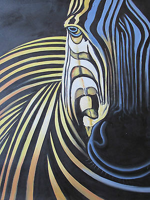 African zebra large oil painting canvas wild animal abstract original Africa art