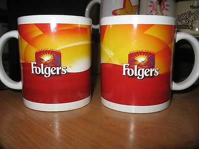 Lot of 2 Folgers Mountain Grown Coffee Mug Tea Cup Houston Havest