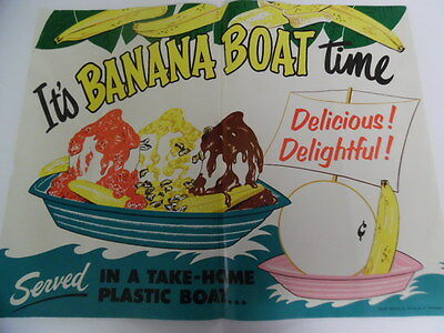 c. 1950s Drive-In Restaurant Banana Boat Time Paper Advertising Sign Vintage
