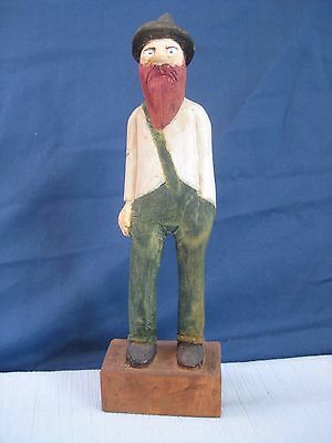 Vintage Wood Carving Hillbilly Mountain Man Signed C.N.L. Folk Art