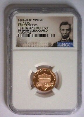 2017-S Lincoln Shield Cent PROOF NGC PF69 Ultra Cameo EARLY RELEASES CLAD SET