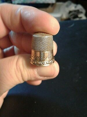 Antique Gold Thimble By Stern Brothers anchor engraved